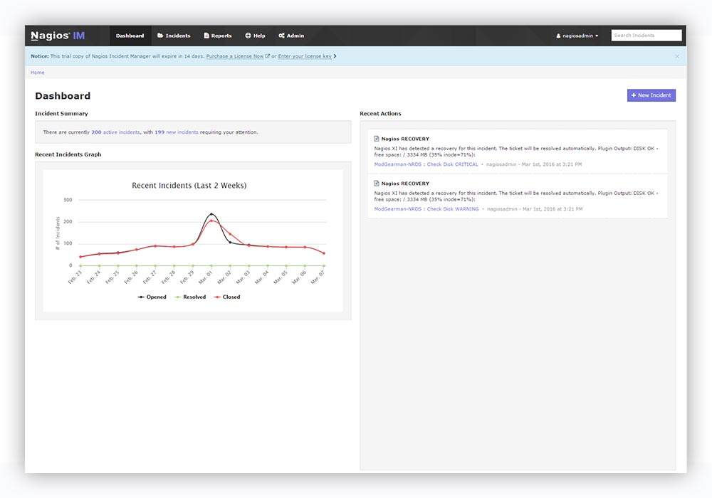 The updated UI in Nagios Incident Manager 2.0.
