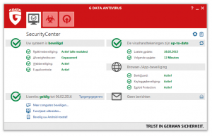 G Data Antivirus security center